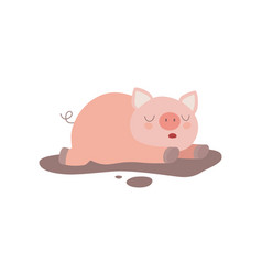 cute funny pig lying in dirty puddle vector image