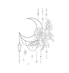 decorative mystery floral design with moon vector image