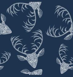 Deer heads seamless pattern vector