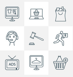 E-commerce icons line style set with add to cart vector