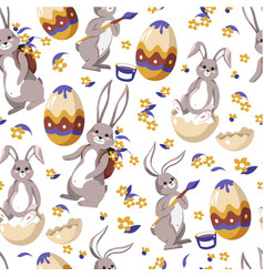 eater bunny painting egg rabbit with paintbrush vector image
