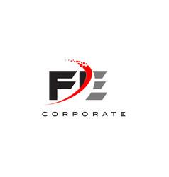 Fe modern letter logo design with swoosh vector