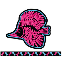 fish neon skeleton cartoon vector image
