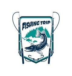 Fishing trip sport adventure club sign vector