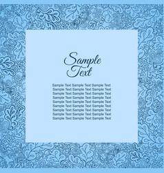 Floral doodle pattern frame blue for inscriptions vector