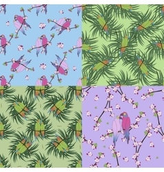 Four seamless pattern with colourful parrot vector image