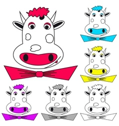 Funny cow on white Coloring book vector image