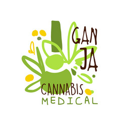 Ganja cannabis medical label logo graphic vector