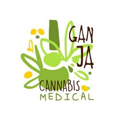 Ganja cannabis medical label logo graphic vector
