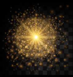 glow light effect star burst with sparkles golden vector image