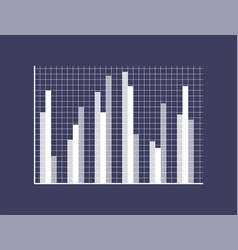graphic chart with thin bars on checkered field vector image