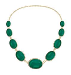 Green gemstone necklace icon cartoon style vector