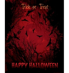 halloween night red background vector image