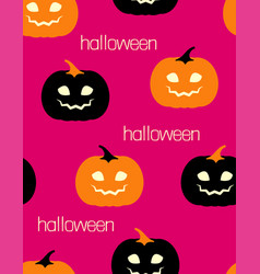 halloween pattern with orange and black pumpkins vector image