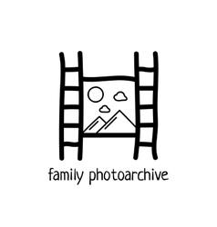 hand drawn black film icon vector image