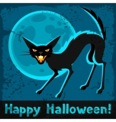 Happy halloween greeting card with angry cat vector image