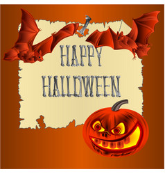 happy halloween inscription of bones pumpkins vector image