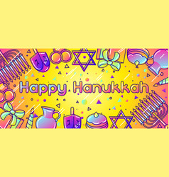 Happy hanukkah celebration banner with holiday vector