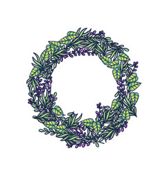 herbal wreath hand drawn color vector image