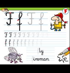 How to write letter f worksheet for kids vector