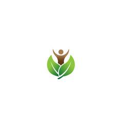 human body leaves wellness logo vector image