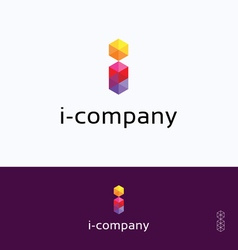 I-company mosaic hexagon logo vector