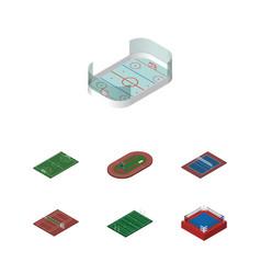 isometric sport set of run stadium tennis vector image