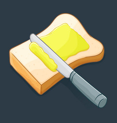 Knife spreading butter on a bread vector