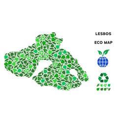 Leaf green collage greek lesbos island map vector
