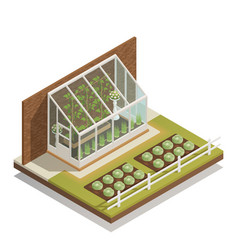 Lean-to greenhouse isometric composition vector