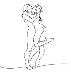 Loving couple kissing continuous line drawing vector
