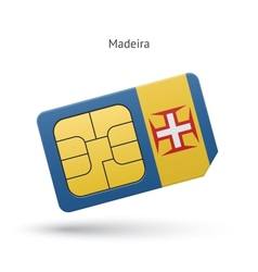 Madeira mobile phone sim card with flag vector