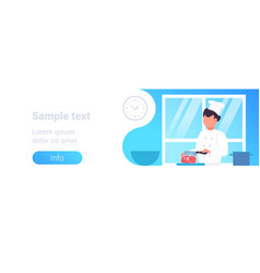 male chef cutting pork meat with knife male vector image