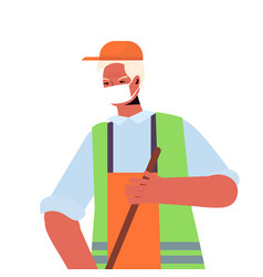 male janitor with broom sweeping and cleaning vector image