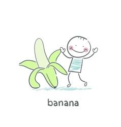 Man and banana vector
