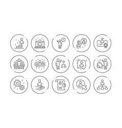 Management line icons business people algorithm vector