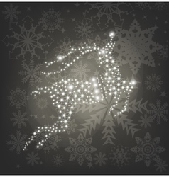 Merry Christmas shine deer silver background vector image