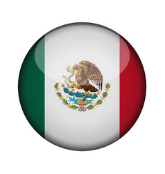 mexico flag in glossy round button of icon mexico vector image