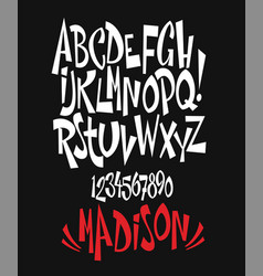 Modern comical font and alphabet vector