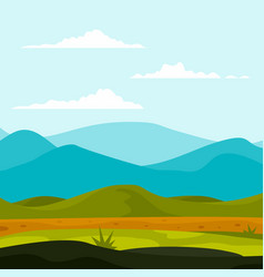 Mountains landscape background flat style vector