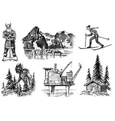 norway culture set national symbols viking vector image
