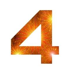 Number of orange firework four vector image