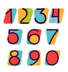 Numbers set in kids paper applique style vector