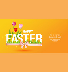 orange happy easter card vector image