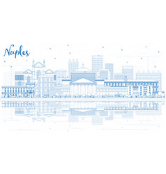 Outline naples italy city skyline with blue vector