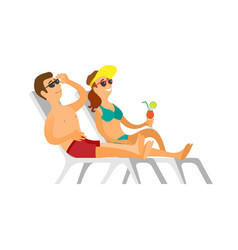 people in glasses and swimsuit sunbathing vector image