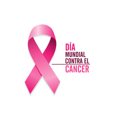 pink cancer ribbon with spanish text vector image
