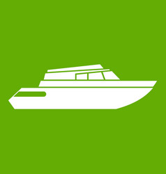 Planing powerboat icon green vector