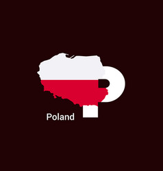 Poland initial letter country with map and flag vector