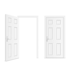 realistic white door with frame handle and vector image